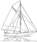 Deck and sail plan of a 16 foot cutter